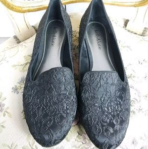 KELLY & KATIE black brocade slip on loafer flats